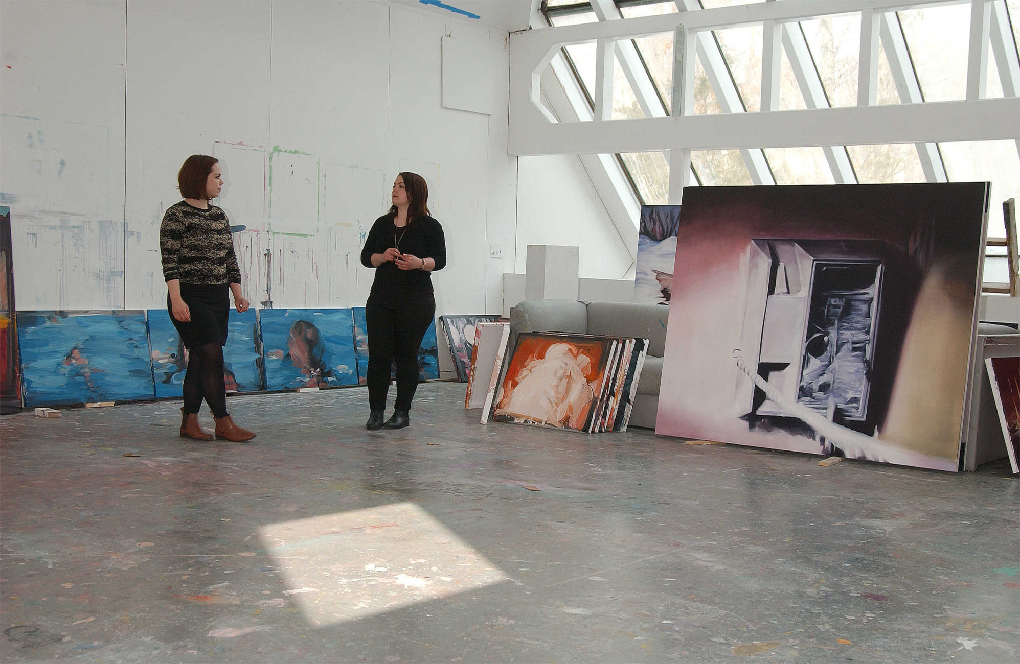 Artists and twin sisters Rachel (left) and Laura (Right) Lancaster during their artist in residency at the former home and art studio of Elaine de Kooning in East Hampton, NY.