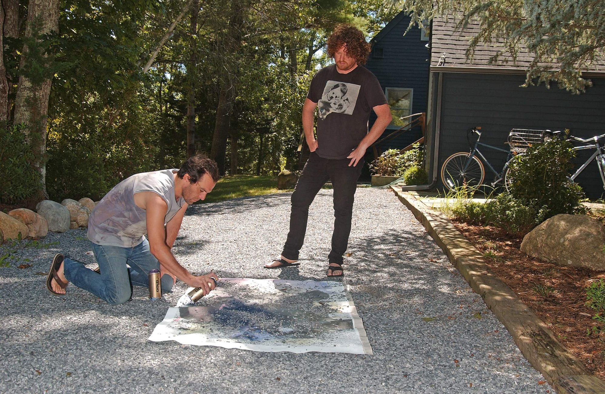 Artists Justin Lowe and Jonah Freeman in residence at the historic and former home and studio of the painter Elaine de Kooning in East Hampton, NY. The sculptor John Chamberlain lived and woked in this home-studio. This American artist team is represented by the international art gallery Marlborough based in London, England.