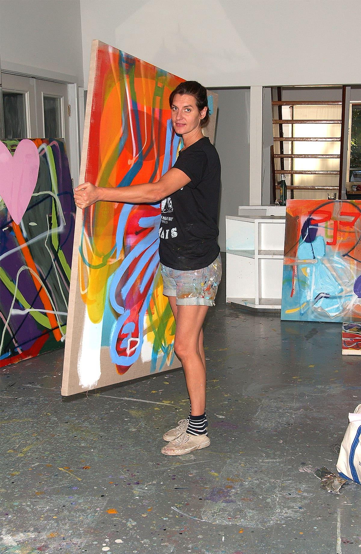 Artist Sadie Laska during her artist in residency at the former home and art studio of Elaine de Kooning in East Hampton, NY.