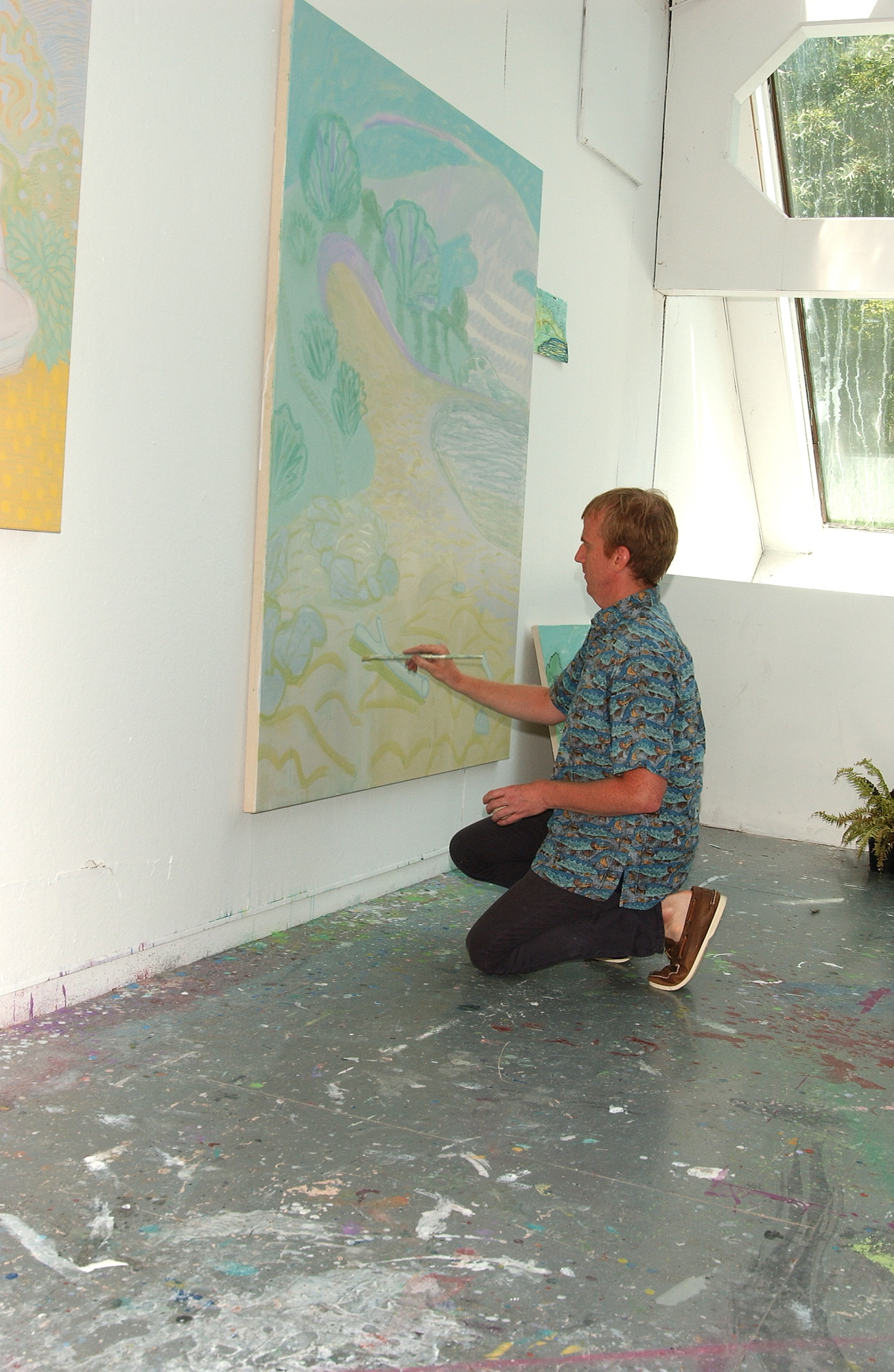Artist Tyson Reeder in residence at the historic and former home and studio of the painter Elaine de Kooning, in East Hampton, NY. The sculptor John Chamberlain lived and woked in this home/studio after Elaine de Kooning died.